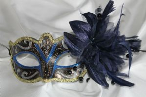 Blue Black Silver and Gold Masquerade Mask - Sparkling Mask | Masks and Tiaras